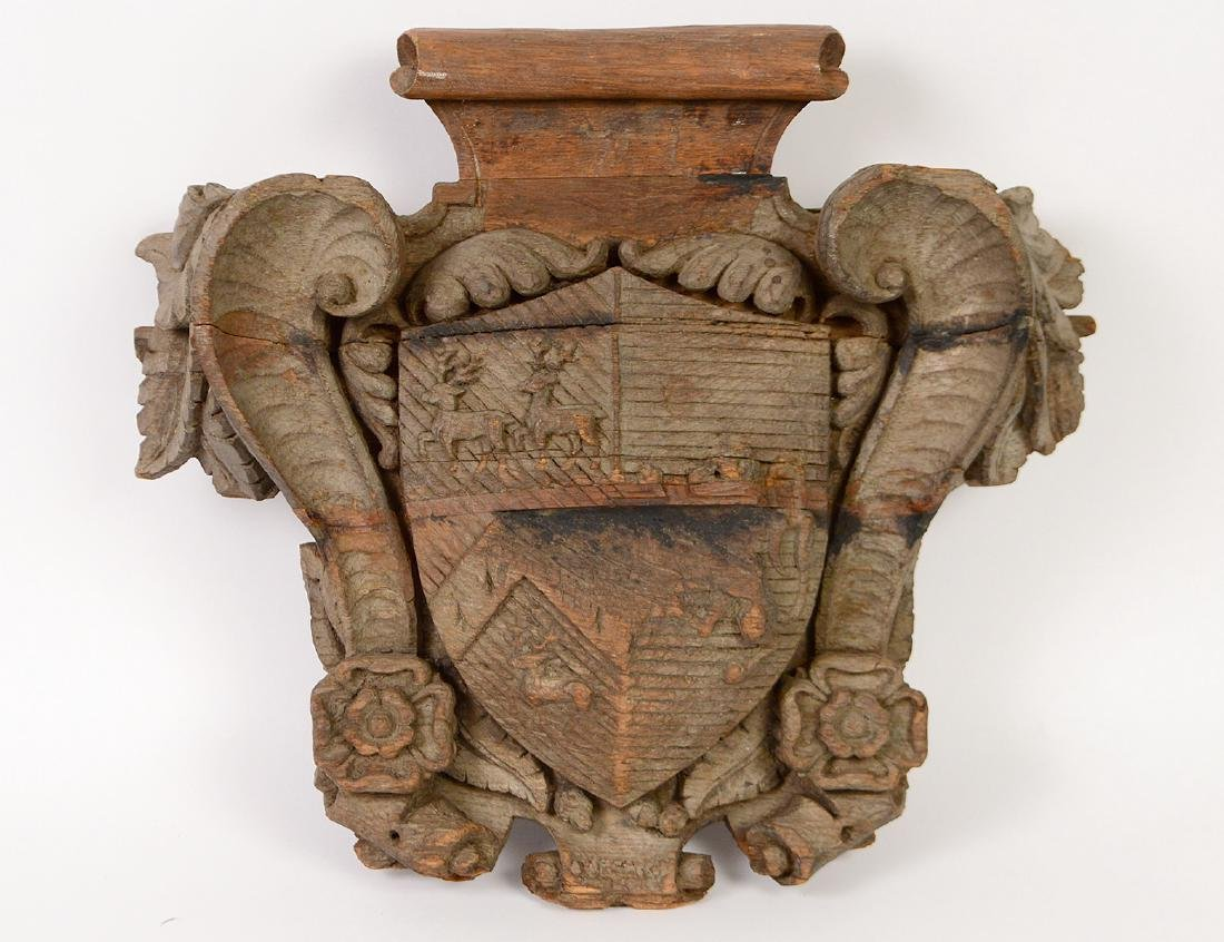 ANGLO/GERMAN CARVED OAK ARMORIAL DEVICE