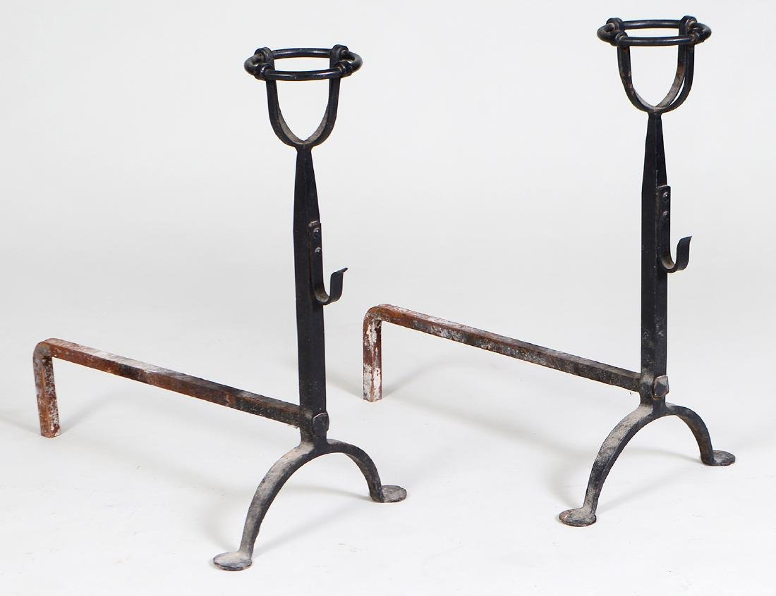 PAIR OF CONTINENTAL IRON ANDIRONS