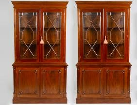 Pair Of George Iii Style Mahogany Bookcase Cabinets