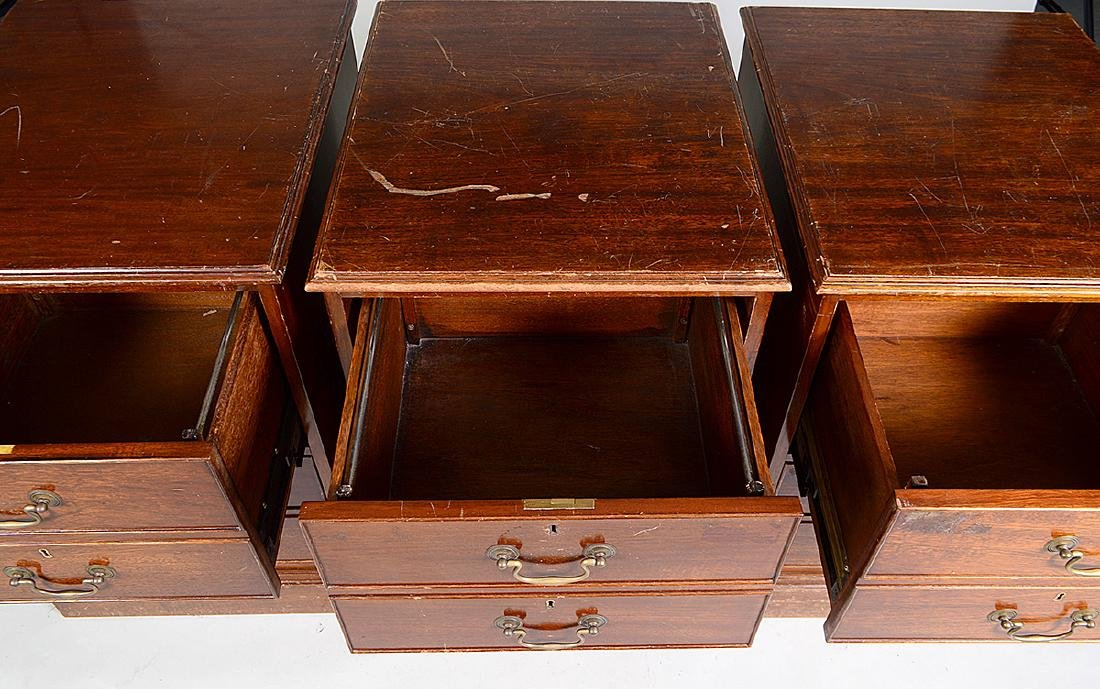 THREE CHIPPENDALE STYLE MAHOGANY FILE CABINETS - 2