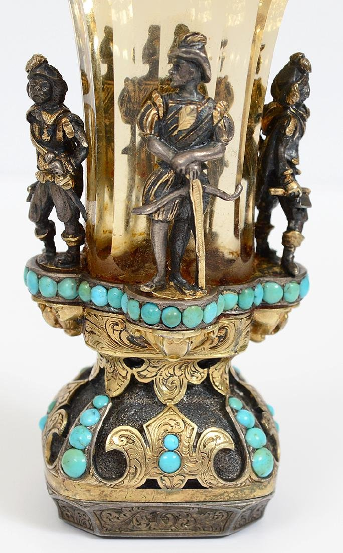 VERY FINE VIENNESE CITRON, TURQUOISE & SILVER GILT SEAL - 3