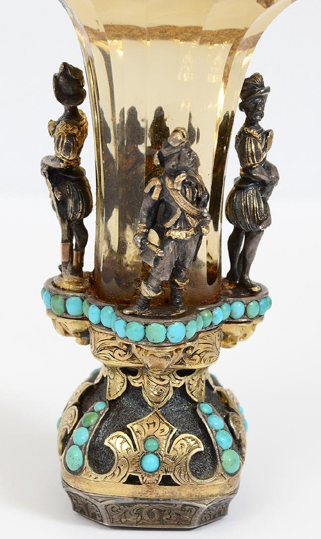 VERY FINE VIENNESE CITRON, TURQUOISE & SILVER GILT SEAL - 4