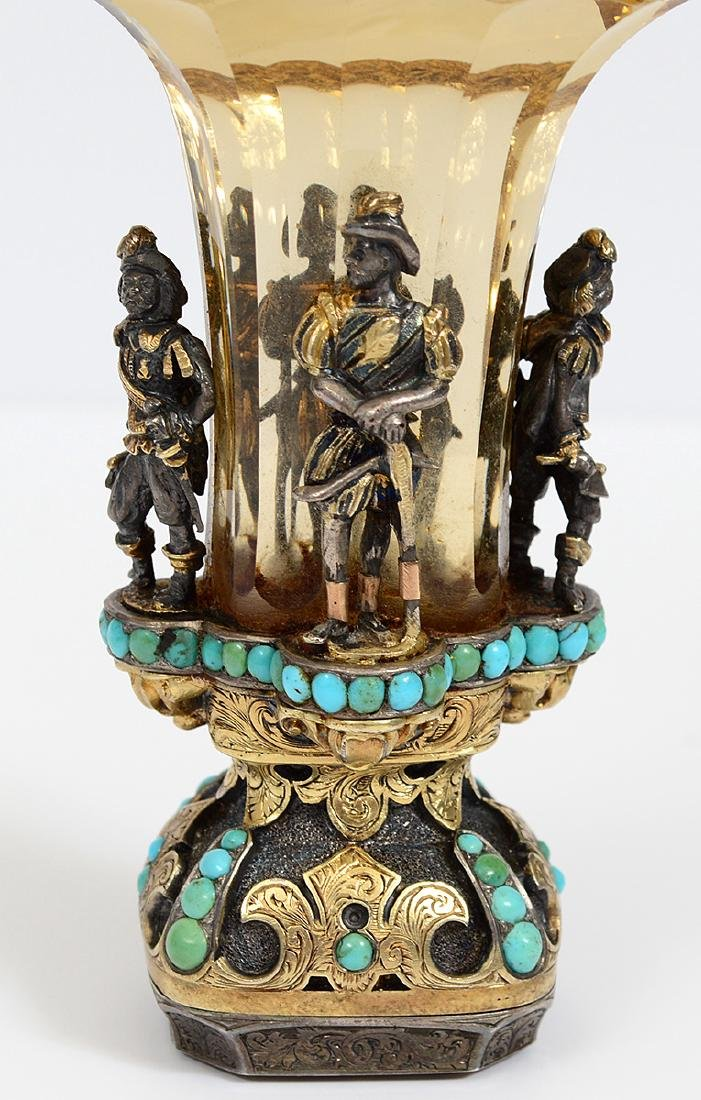 VERY FINE VIENNESE CITRON, TURQUOISE & SILVER GILT SEAL - 5