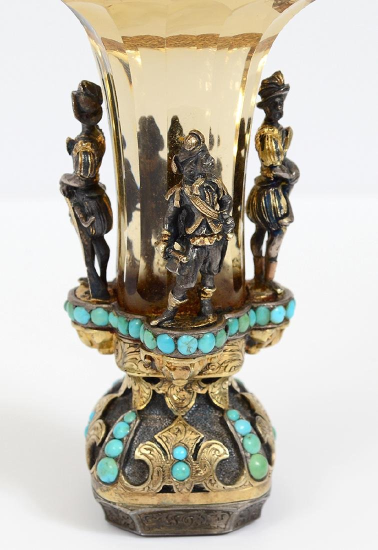 VERY FINE VIENNESE CITRON, TURQUOISE & SILVER GILT SEAL - 6