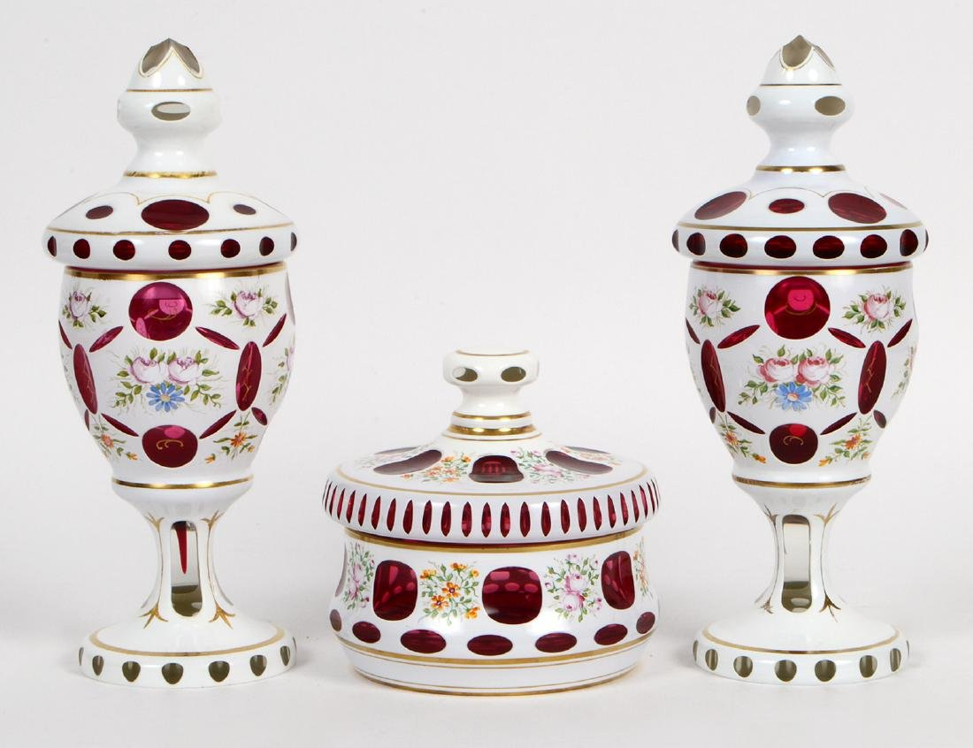 BOHEMIAN GLASS THREE-PIECE GARNITURE