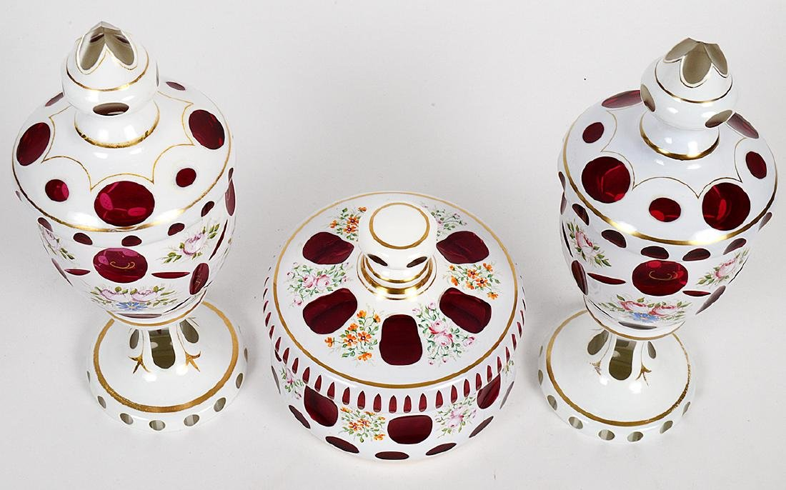 BOHEMIAN GLASS THREE-PIECE GARNITURE - 2