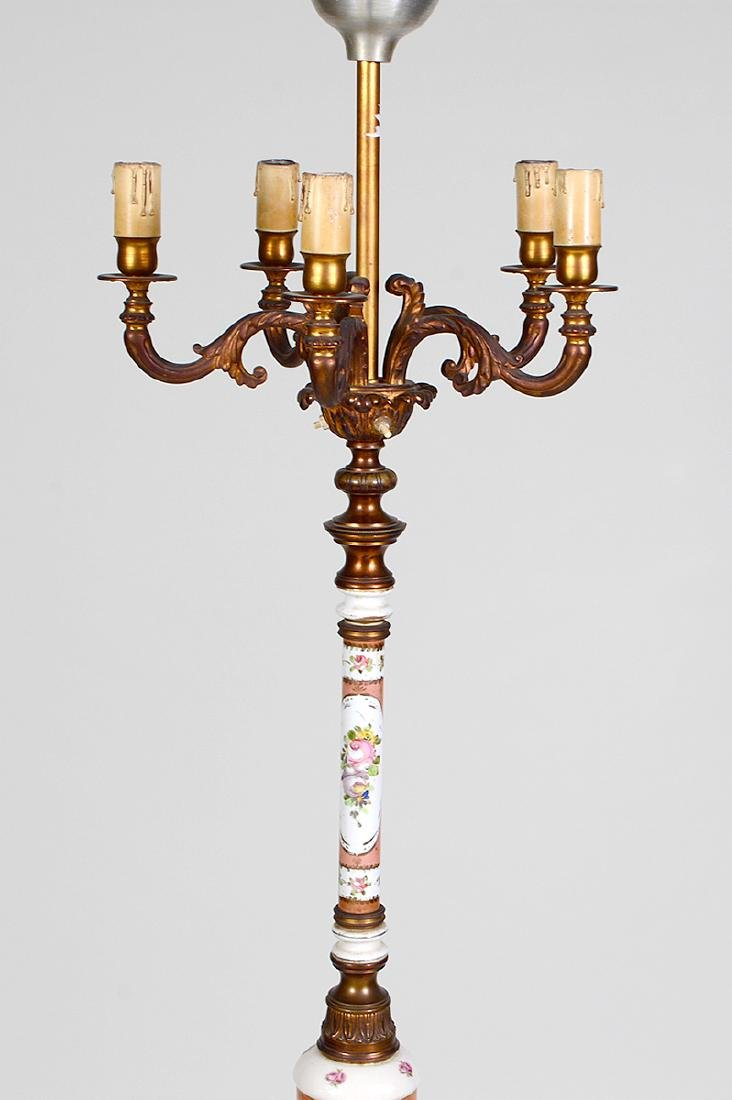 CONTINENTAL PORCELAIN & GILT METAL FLOOR LAMP - 3