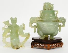 Two Chinese Transparent Green Jade Items