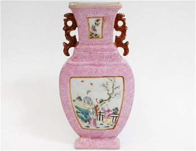 CHINESE CHIEN LUNG FAMILLE ROSE URN FORM WALL POCKET