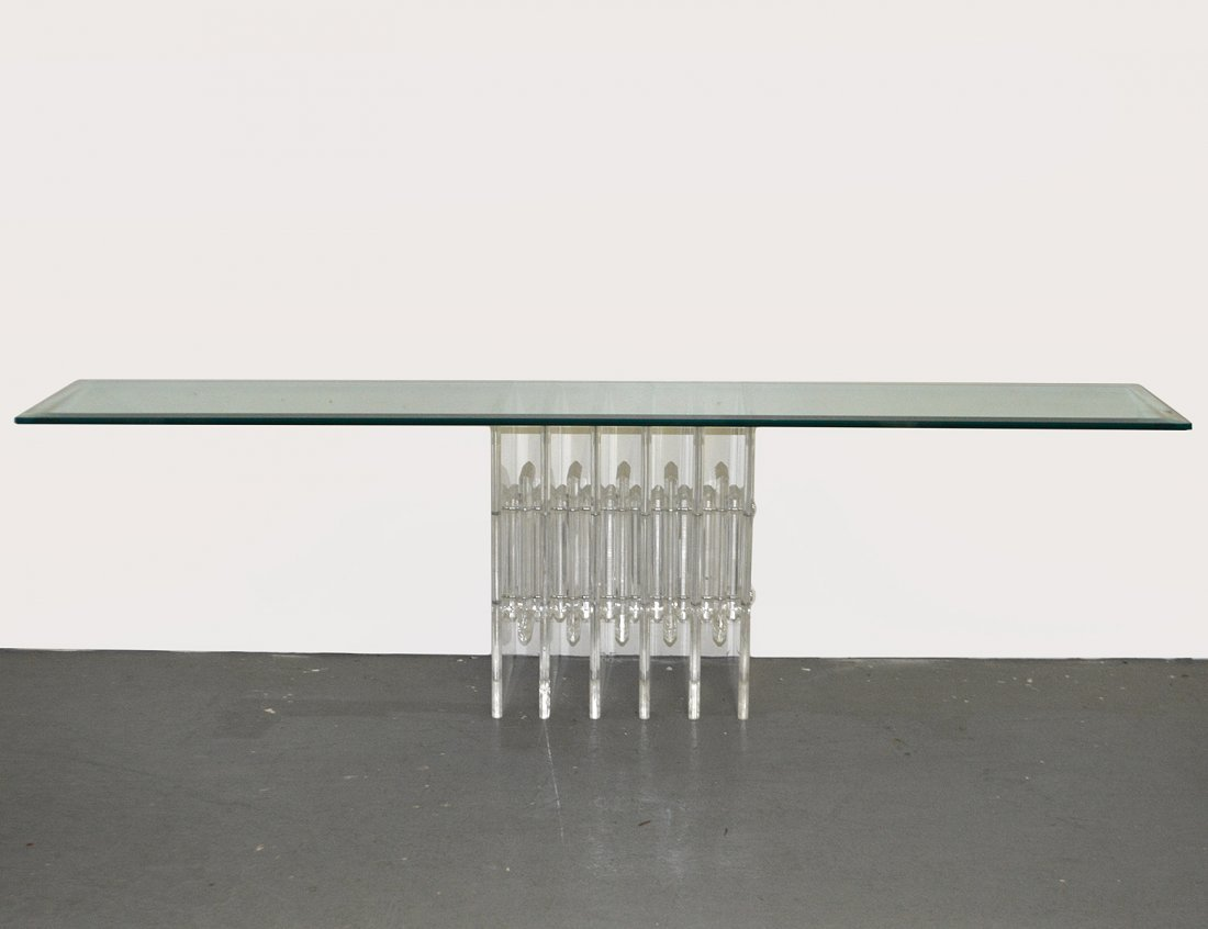 CONTEMPORARY GLASS AND LUCITE SIDE TABLE