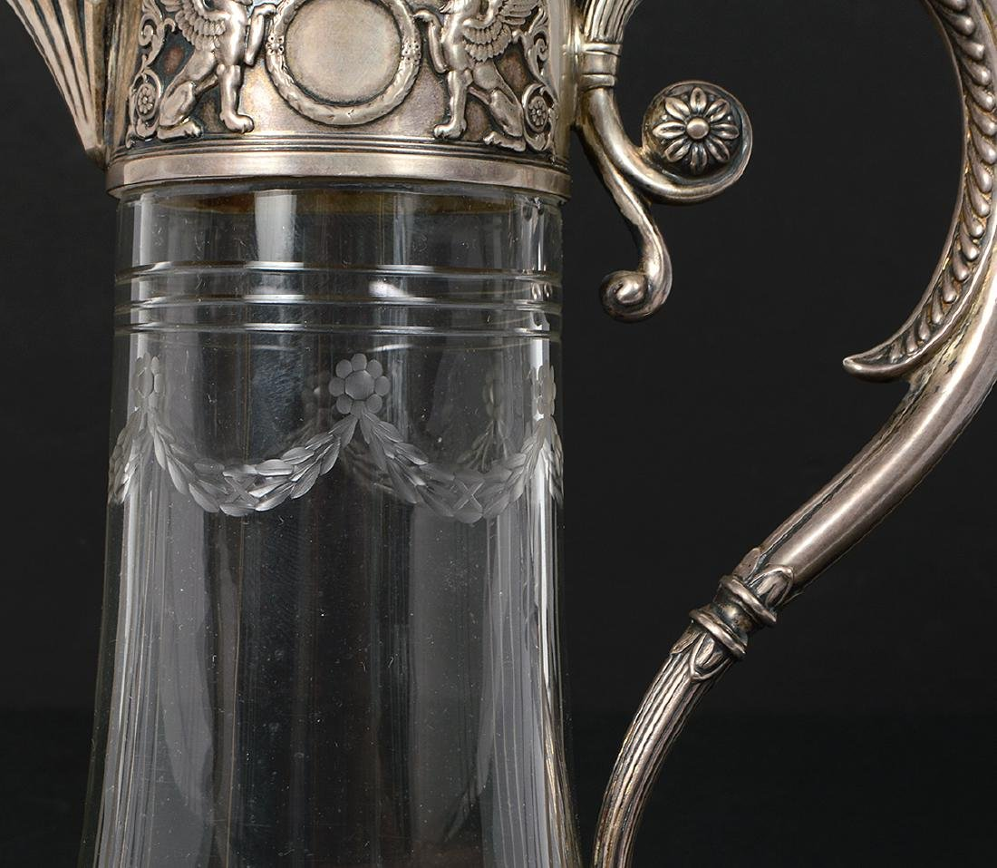 RUSSIAN SILVER MOUNTED GLASS CLARET JUG - 2