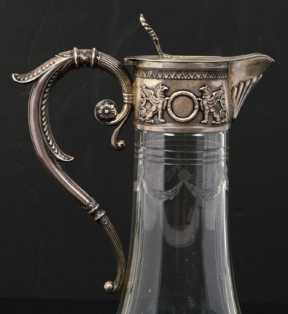 RUSSIAN SILVER MOUNTED GLASS CLARET JUG - 3