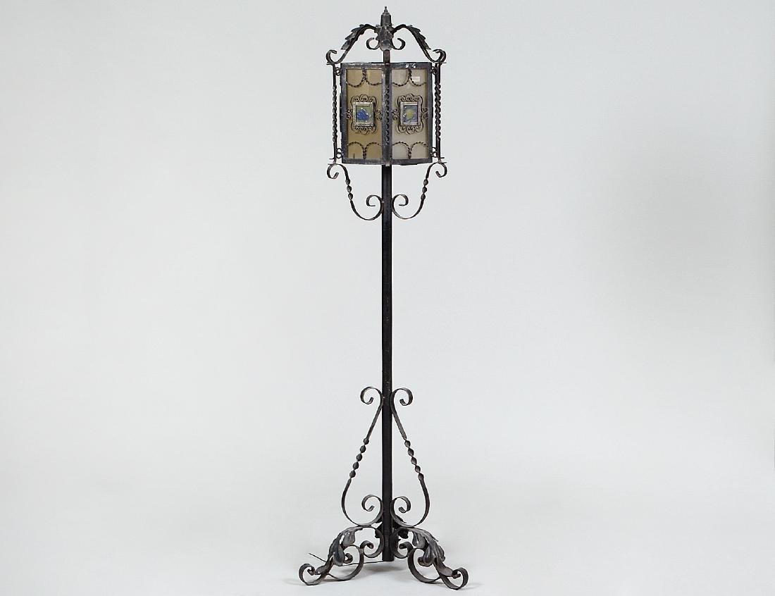 SPANISH BAROQUE STYLE WROUGHT IRON FLOOR LAMP