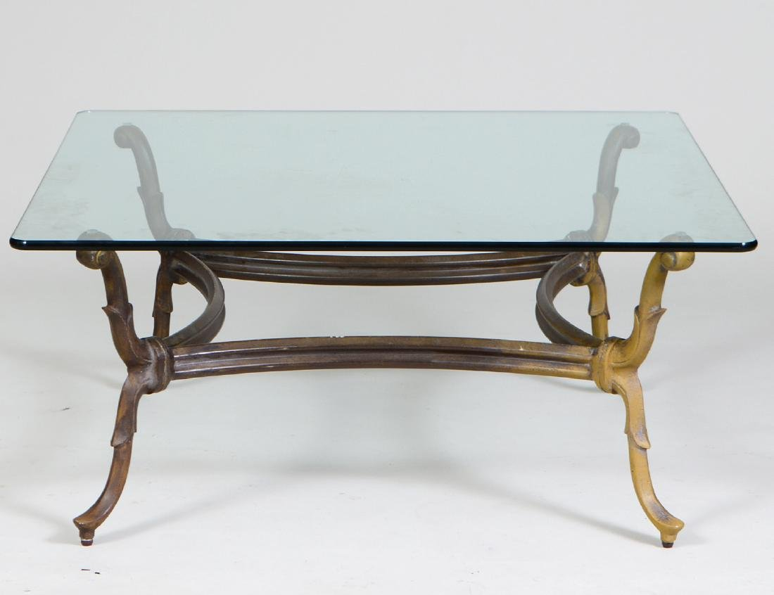 GLASS AND PATINATED METAL LOW TABLE