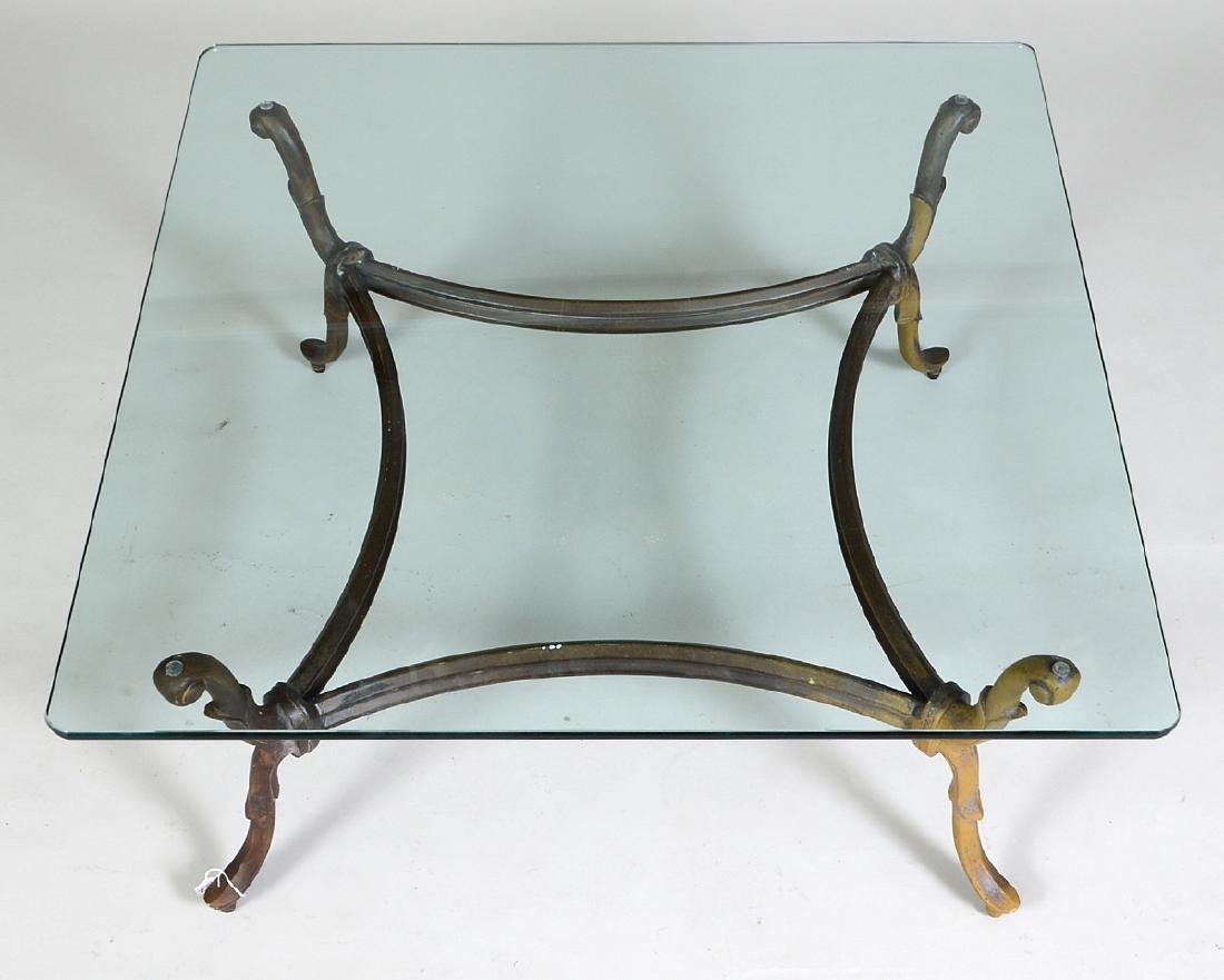 GLASS AND PATINATED METAL LOW TABLE - 2