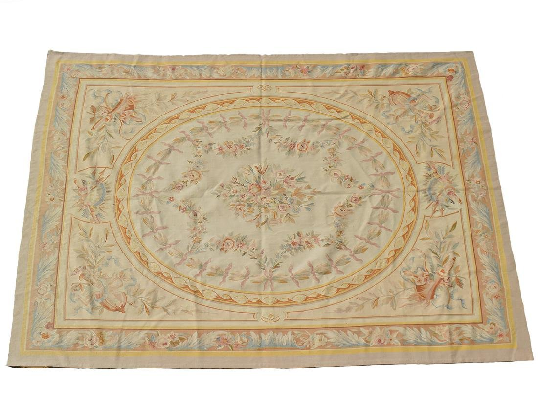 FRENCH AUBUSSON FOLIATE DECORATED CARPET