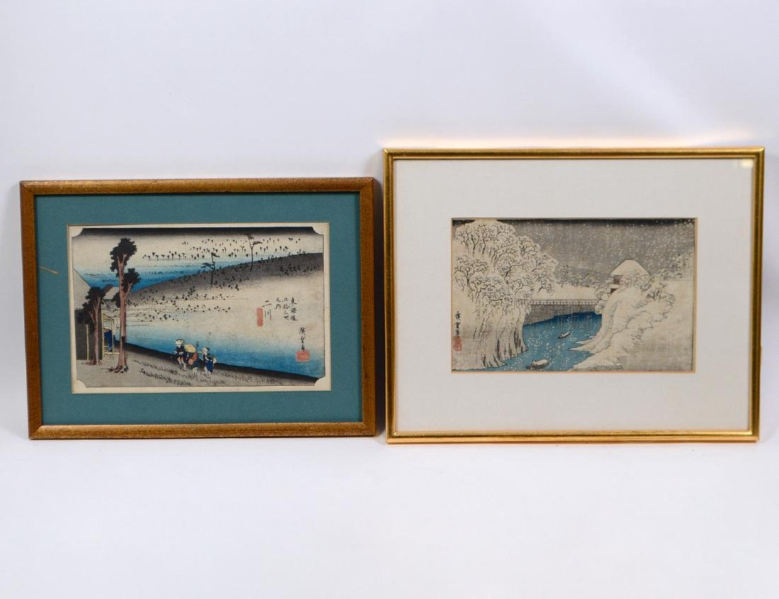 TWO HIROSHIGE WOOD BLOCK PRINTS