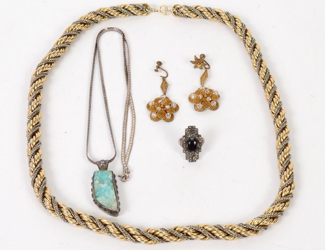 GROUP OF FOUR PIECES OF VINTAGE COSTUME JEWELRY