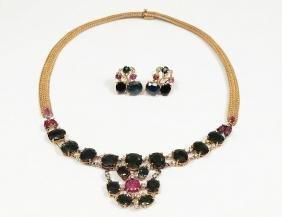 14k Gold, Ruby, Sapphire & Diamond Suite Of Jewelry