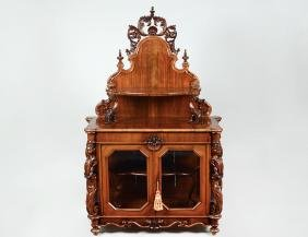Rococo Revival Walnut Shelved Side Cabinet