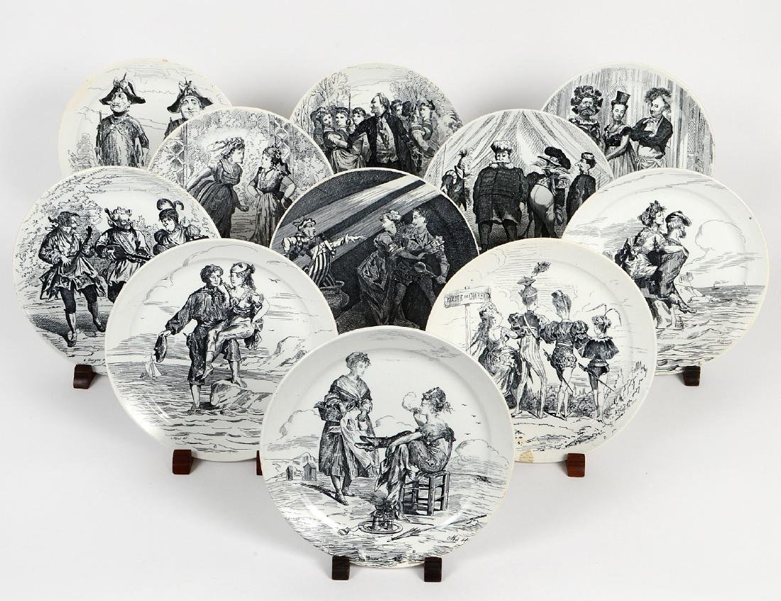 SET OF ELEVEN FRENCH TRANSFER PRINTED EARTHENWARE