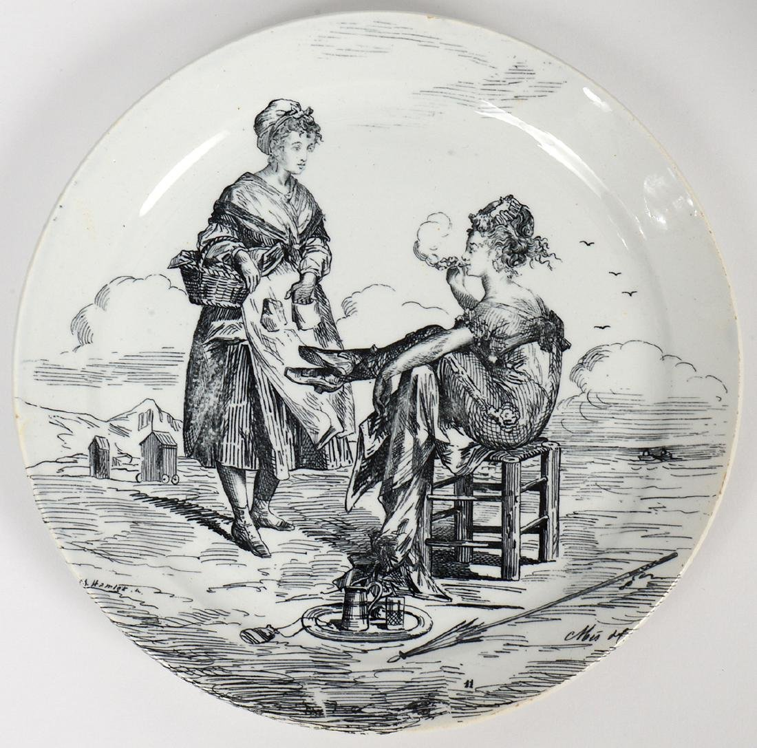 SET OF ELEVEN FRENCH TRANSFER PRINTED EARTHENWARE - 2