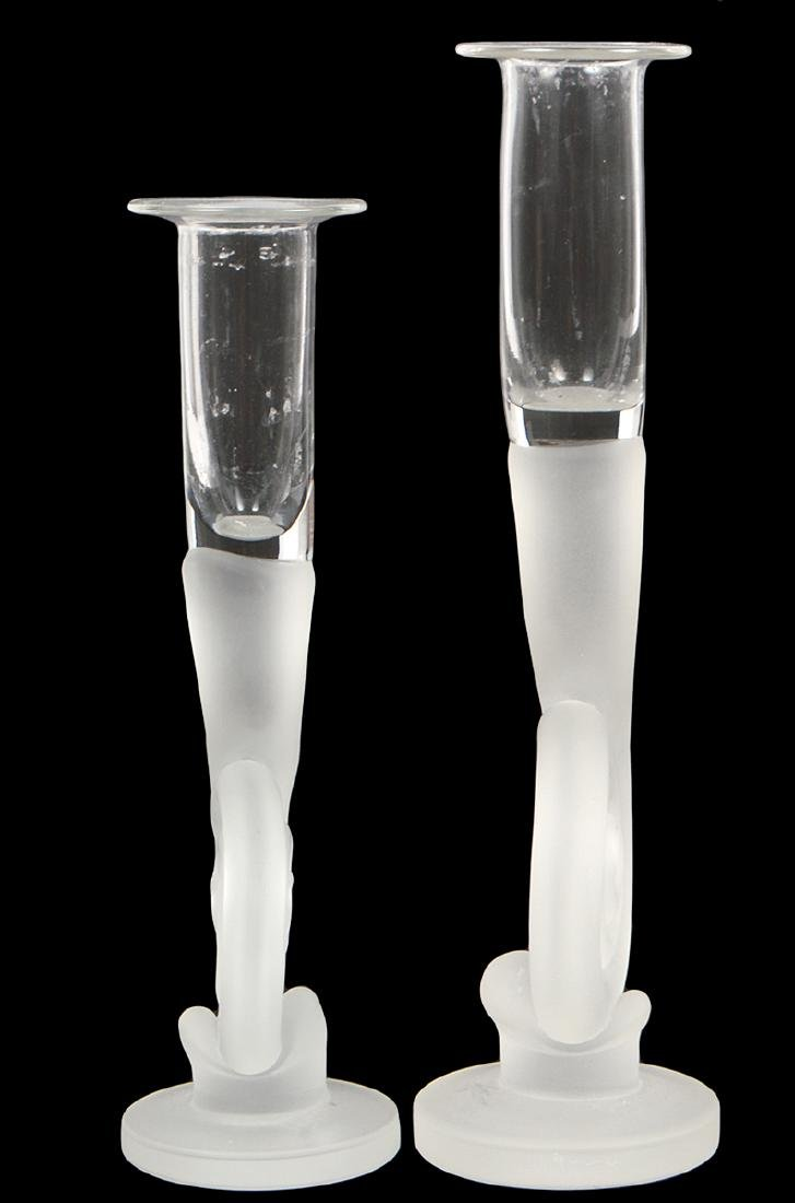 TWO LALIQUE STYLE GLASS CANDLESTICKS - 2