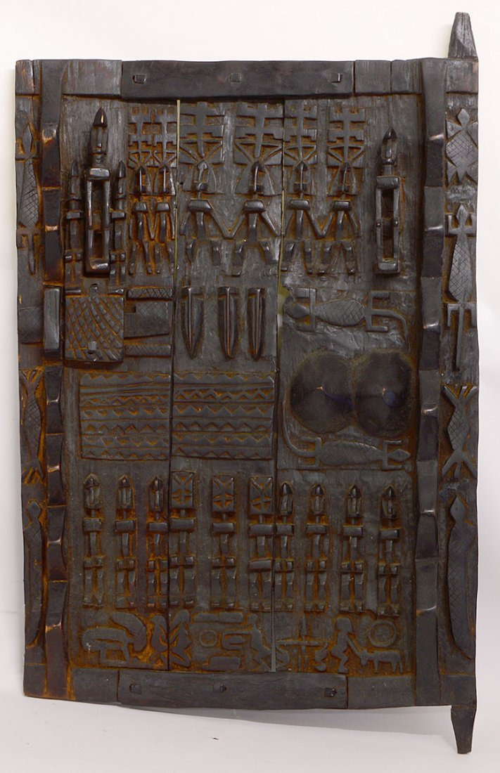 TWO WEST AFRICAN DOGON GRAINARY DOORS - 2