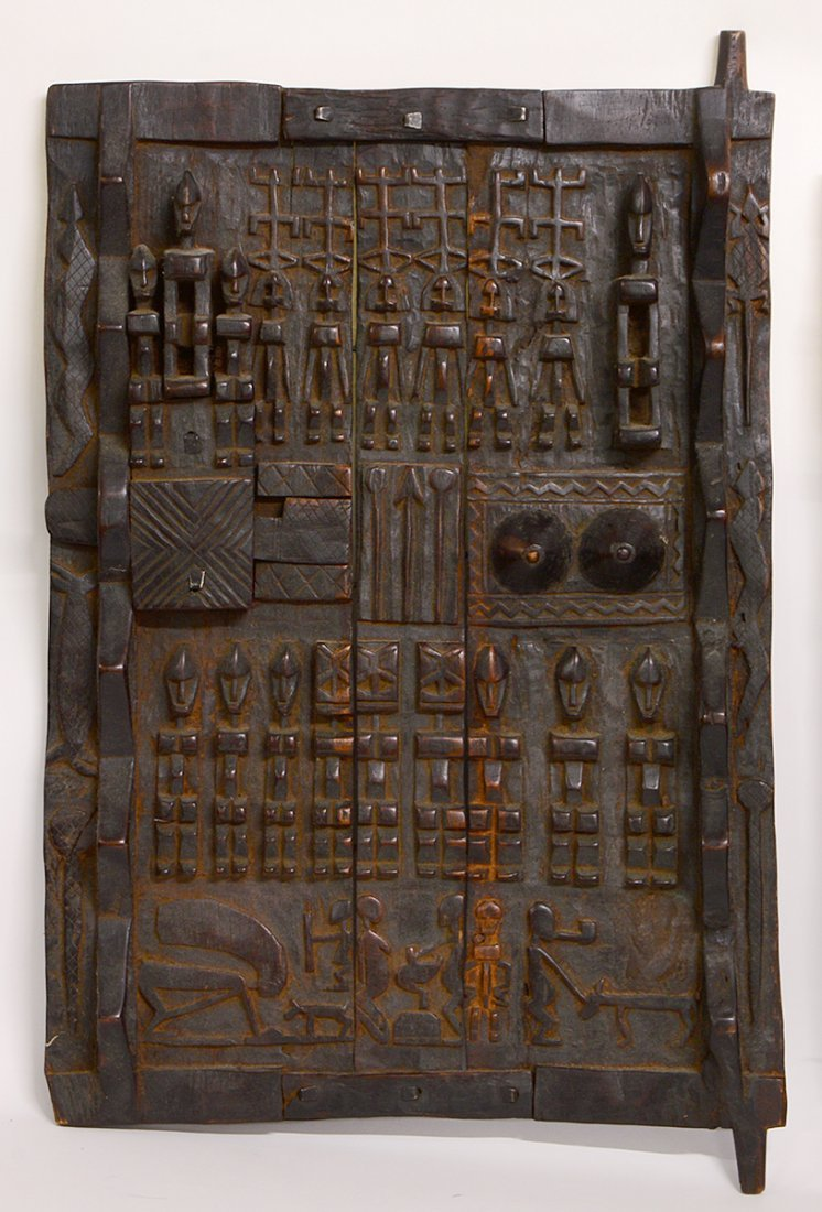 TWO WEST AFRICAN DOGON GRAINARY DOORS - 3