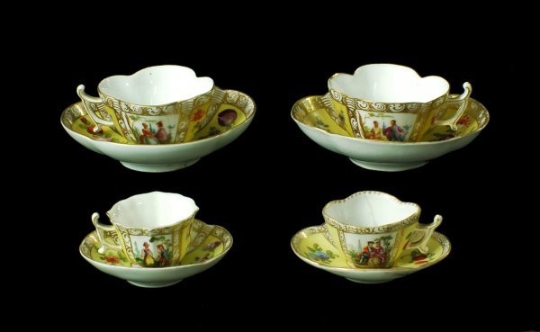 3:  Four Dresden Hand Painted Cups & Saucers