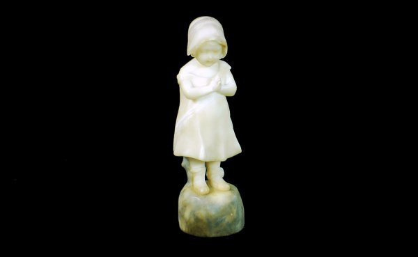7:  Antique Alabaster Sculpture of Young Girl Prayin