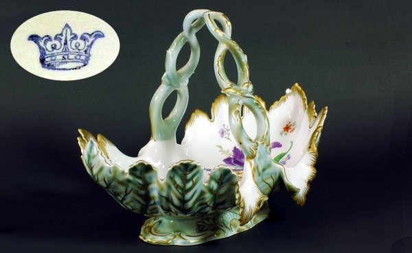 13:  Large Continental Porcelain Floral Handled Bask