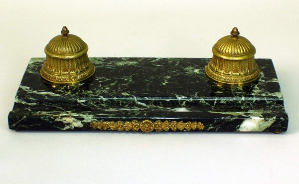 14:  Marble and Bronze Footed Inkwell With Glass Lin