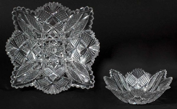 17:  Brilliant Cut Glass Scalloped Edge Bowl