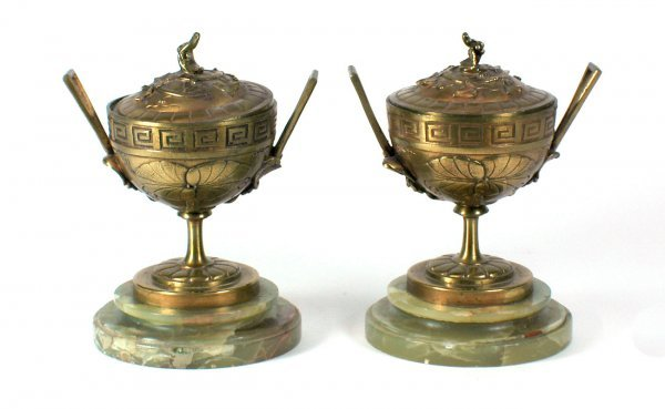 24:  Bronze 2 Handled Lidded Cups Greek Key Design