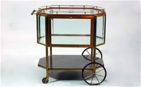 274  Antique Brass and Beveled Glass Tea Cart