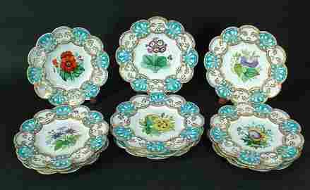 320: 12 Antique English Porcelain Hand Painted Plat