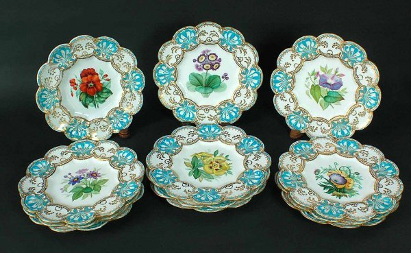 320: 12 Antique English Porcelain Hand Painted Plat