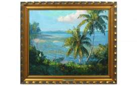 333 A E Backus Florida Indian River Scene Oil Signed