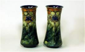 361 2 Royal Doulton Glazed Lambeth Stoneware Vases