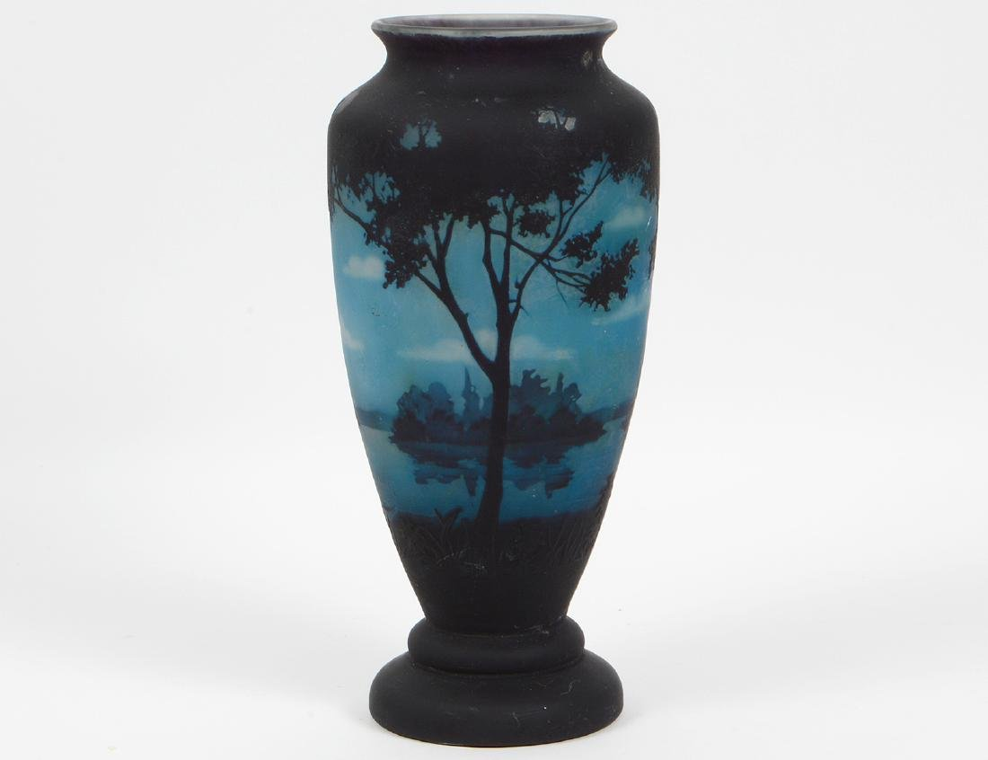 DAUM ACID ETCHED GLASS LANDSCAPE VASE