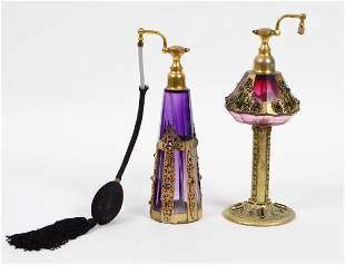 TWO CZECH GILT & JEWEL MOUNTED AMYTHEST GLASS PERFUMES