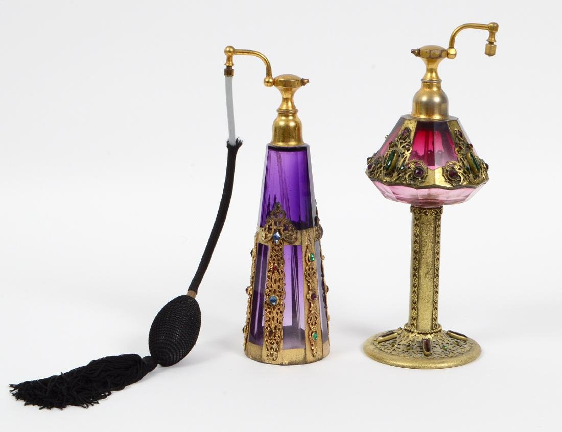 TWO CZECH GILT & JEWEL MOUNTED AMYTHEST GLASS PERFUMES