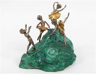 SILVER, GOLD AND MALACHITE TABLE DANCE SCULPTURE