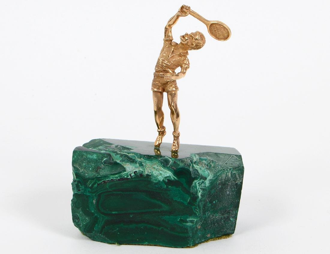 SILVER, GOLD & MALACHITE TABLE TENNIS SCULPTURE