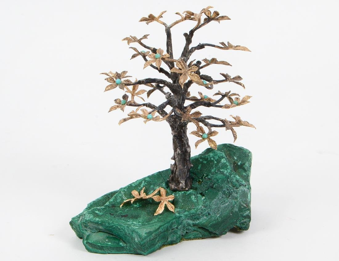 SILVER, GILT METAL AND MALACHITE TABLE TREE SCULPTURE
