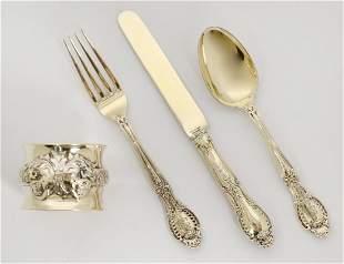 TIFFANY STERLING SPOON, KNIFE, FORK & NAPKIN RING