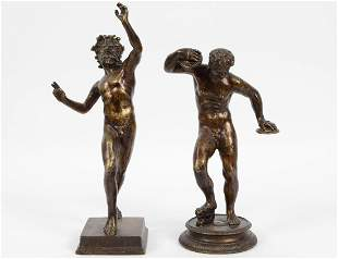 TWO GRAND TOUR PATINATED BRONZE FIGURES OF SATYRS