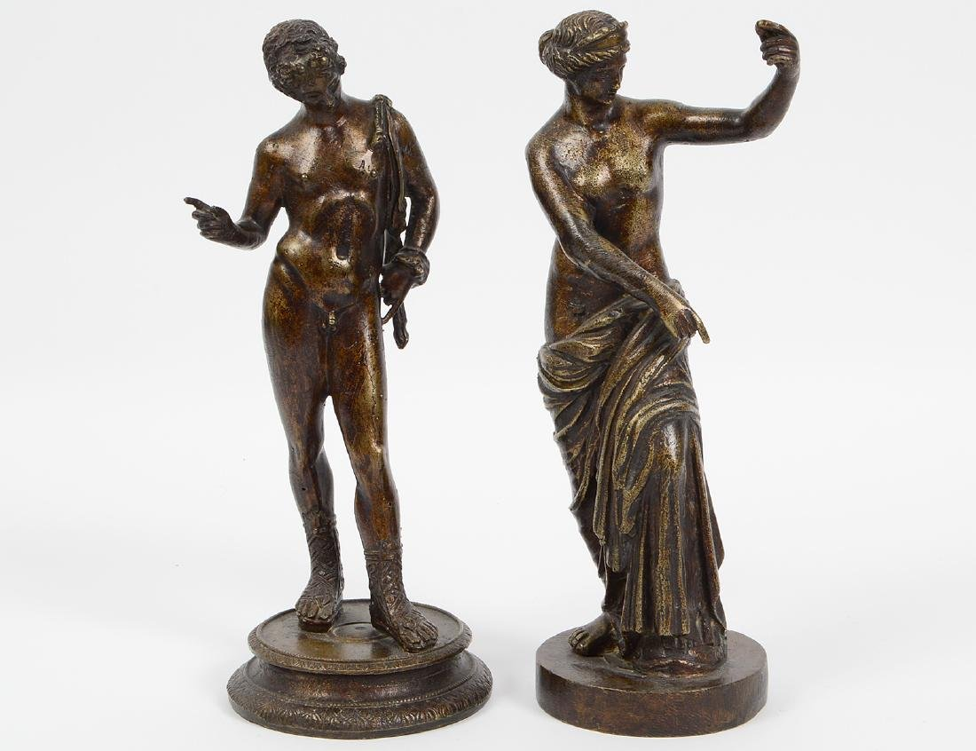 TWO GRAND TOUR PATINATED BRONZES OF VENUS & APOLLO