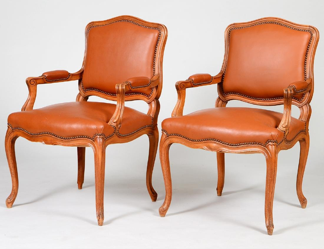 PAIR OF LOUIS XV STYLE FAUTEUILS A LA REINE